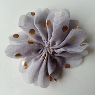 Applique fleur  à pois doré  gris 80mm