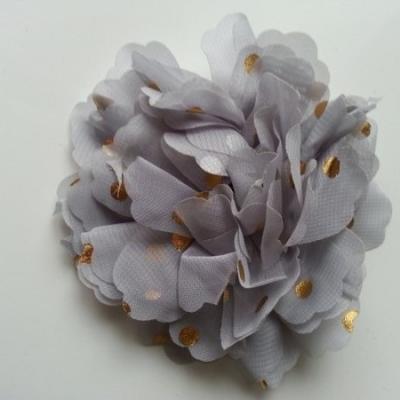 fleur en mousseline à pois doré gris  10cm