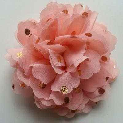 fleur en mousseline à pois doré pêche  10cm