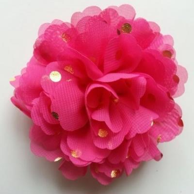 fleur en mousseline à pois doré rose fuchsia 10cm