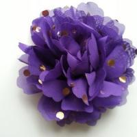 fleur en mousseline à pois doré violet 10cm