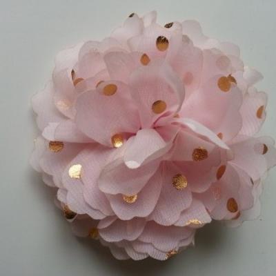 fleur en mousseline à pois doré rose pâle 10cm