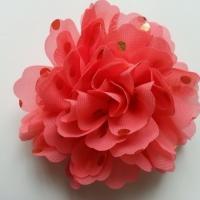 fleur en mousseline à pois doré saumon 10cm
