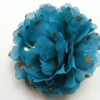 fleur en mousseline à pois doré bleu vert  10cm