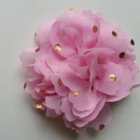fleur en mousseline à pois doré rose 10cm