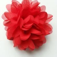 fleur mousseline rouge  10cm