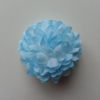 Fleur  pompon en tissu bleu et blanc   50mm