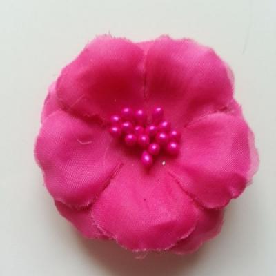 Applique fleur tissu et pistils  rose fuchsia  60mm