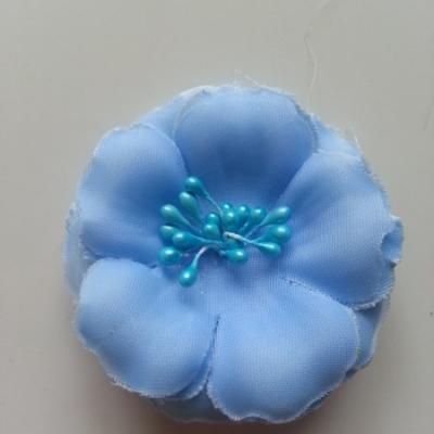 Applique fleur tissu et pistils  bleu 60mm