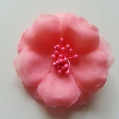 Applique fleur tissu et pistils  saumon 60mm