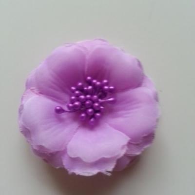 Applique fleur tissu et pistils  mauve 60mm