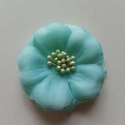 Applique fleur tissu et pistils  vert 60mm