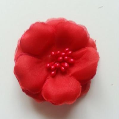 Applique fleur tissu et pistils  rouge  60mm