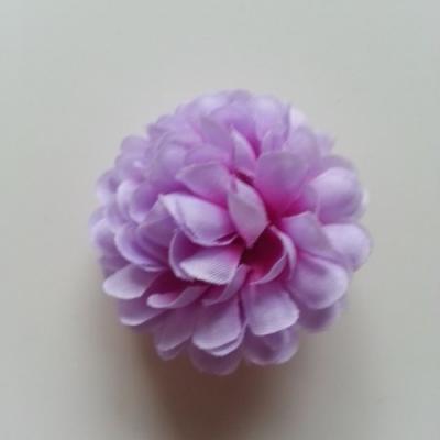 Fleur  pompon en tissu mauve et prune  50mm