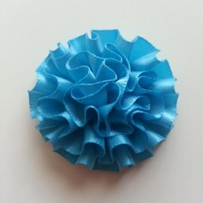 Fleur en ruban de satin  bleu turquoise 50mm
