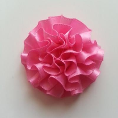Fleur en ruban de satin  rose 50mm