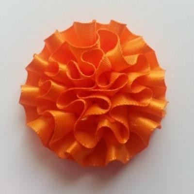 Fleur en ruban de satin  orange  50mm
