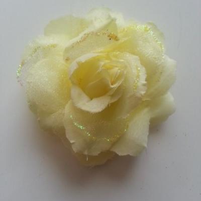 Rose  en tissu pailletée   jaune 70mm