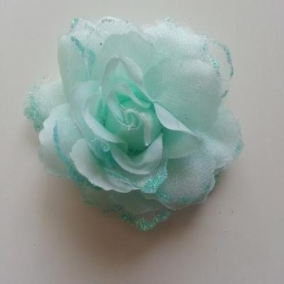 Rose  en tissu pailletée   verte 70mm
