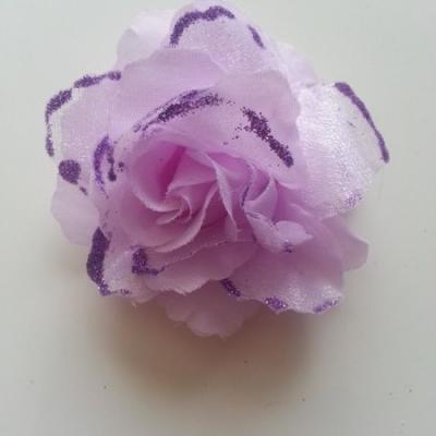 Rose  en tissu pailletée   mauve 70mm