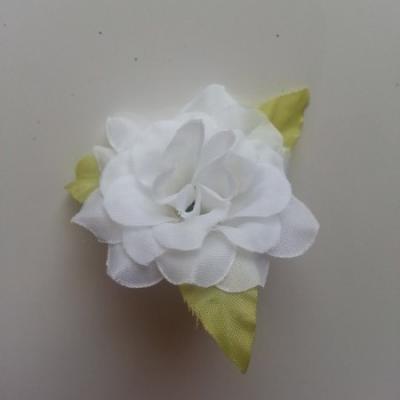 Fleur et feuilles en tissu  blanc 40mm