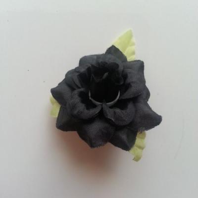 Fleur et feuilles en tissu  noir 40mm