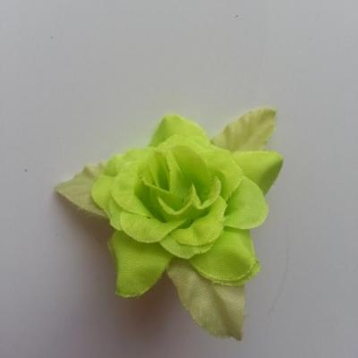 Fleur et feuilles en tissu  vert 40mm