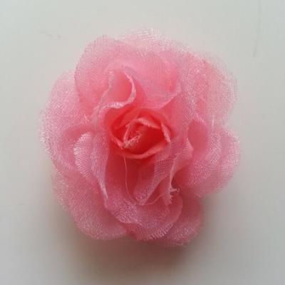 Fleur  en tissu rose saumoné 45mm