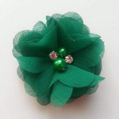 fleur perle et strass mousseline  55mm vert foncé