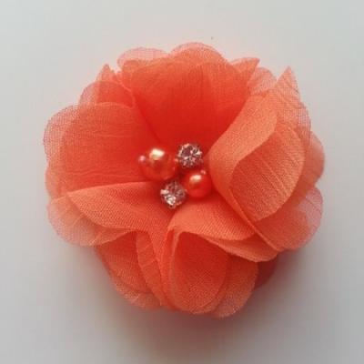 fleur perle et strass mousseline  55mm orange
