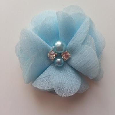 fleur perle et strass mousseline  55mm bleu ciel