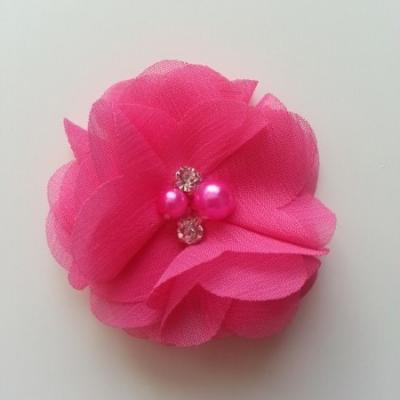 fleur perle et strass mousseline  55mm rose fuchsia