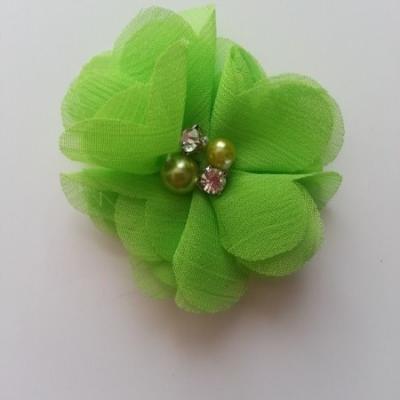 fleur perle et strass mousseline  55mm vert