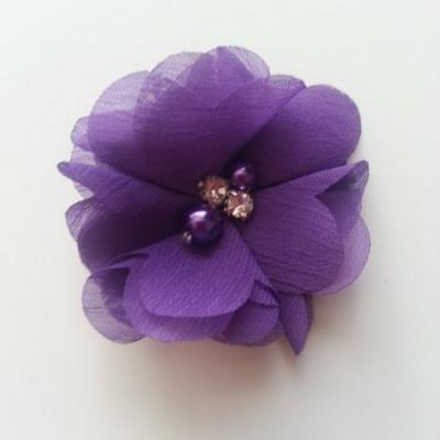 fleur perle et strass mousseline  55mm violet