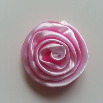 Rosette satin bicolore 55mm rose fuchsia