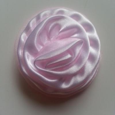 Rosette satin bicolore 55mm rose pale
