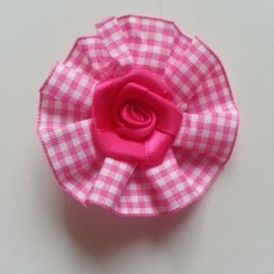 rosette en  tissu à carreaux VICHY  60mm rose fuchsia