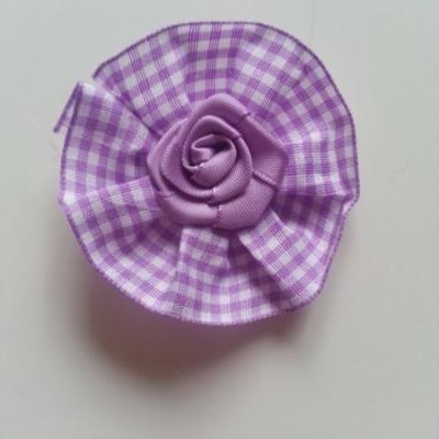rosette en  tissu à carreaux VICHY  60mm mauve