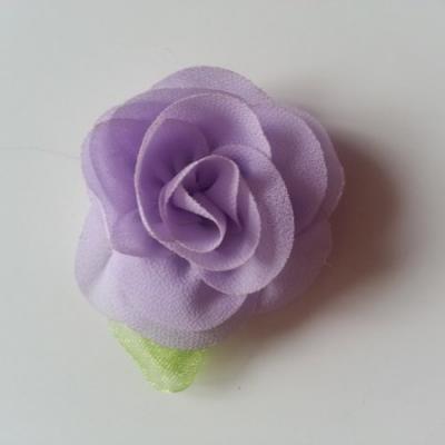 Fleur en mousseline avec feuille  50mm mauve