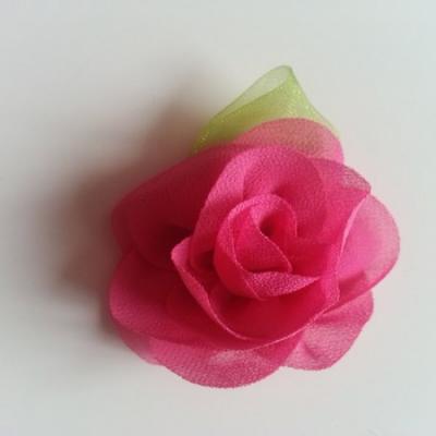 Fleur en mousseline avec feuille  50mm rose fuchsia