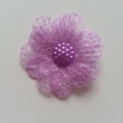 double fleur  voile 45mm mauve