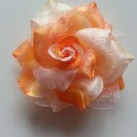 Rose bicolore en tissu   70mm orange