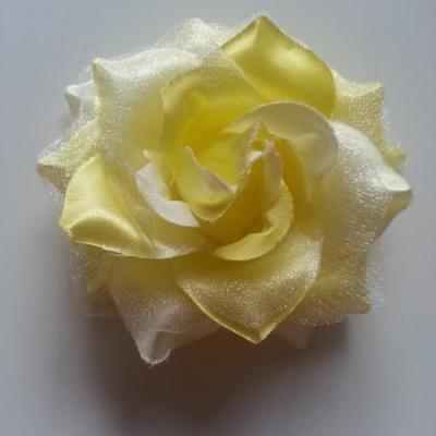 Rose bicolore en tissu   70mm jaune