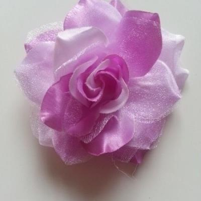 Rose bicolore en tissu   70mm mauve