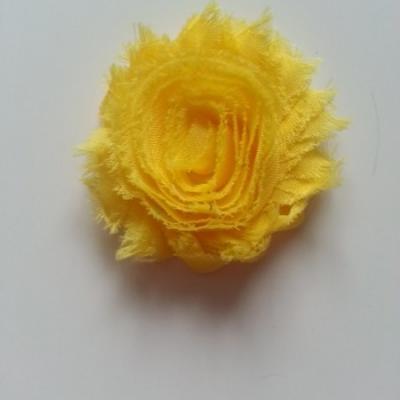 Applique fleur chabby   65mm jaune