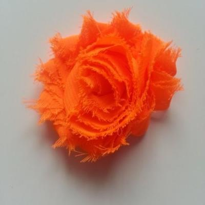 Applique fleur chabby   65mm orange