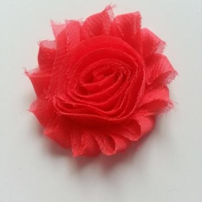 Applique fleur chabby   65mm rouge orangé