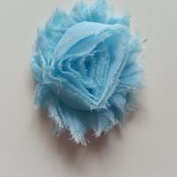 Applique fleur chabby   65mm bleu