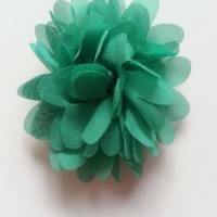 Applique fleur mousseline   75mm vert