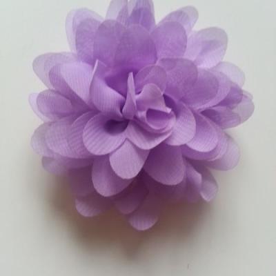 Applique fleur mousseline   75mm mauve
